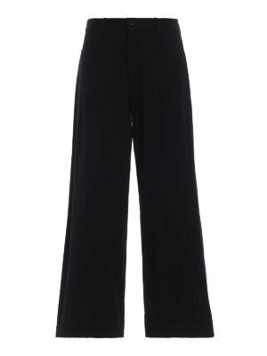 Y'S: pantaloni casual - Pantaloni a gamba ampia con tasche applicate
