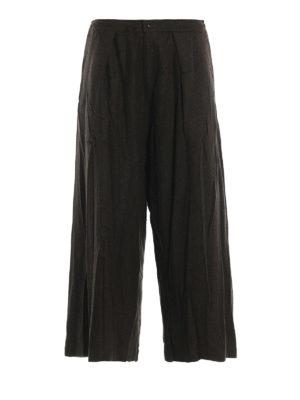 Y'S: pantaloni casual - Pantaloni a gamba ampia in panno di lana