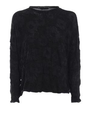 Y'S: maglia collo rotondo - Maglia in misto lana jacquard floreale
