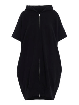 Y's: knee length coats - Hoodie style cotton over coat