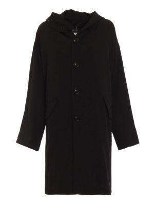 Y'S: cappotti al ginocchio - Cappotto oversize in lana con cappuccio