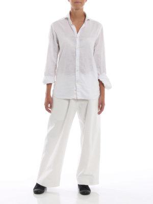 Y'S: pantaloni casual online - Pantaloni a gamba ampia in cotone bianco