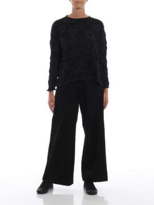Y'S: pantaloni casual online - Pantaloni a gamba ampia con tasche applicate