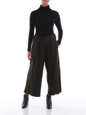 Y'S: pantaloni casual online - Pantaloni a gamba ampia in panno di lana