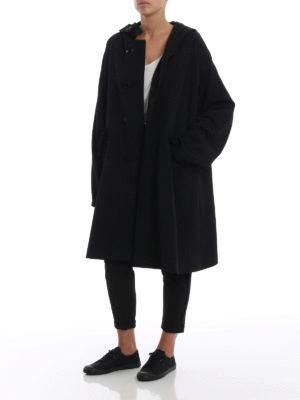 Y'S: cappotti al ginocchio online - Cappotto oversize in lana con cappuccio