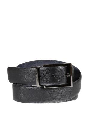 Z Zegna: belts - Reversible saffiano leather belt