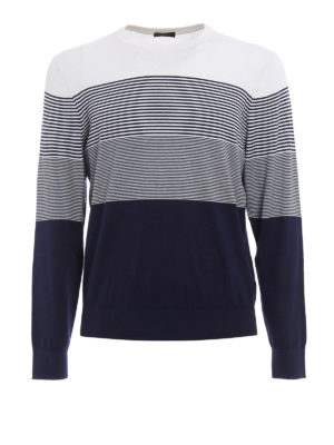 Z Zegna: crew necks - Colour block silk blend sweater
