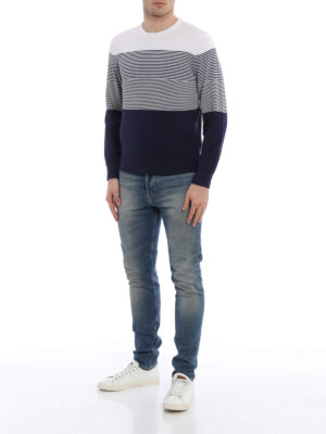 Z Zegna: crew necks online - Colour block silk blend sweater
