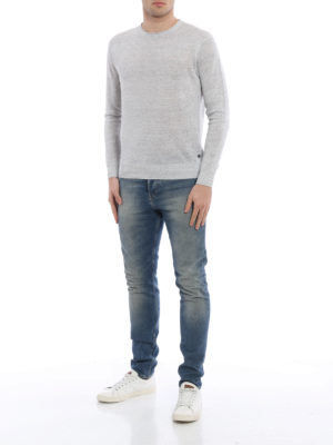 Z Zegna: crew necks online - Melange linen and cotton sweater