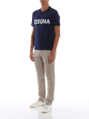 Z ZEGNA: t-shirt online - T-shirt in cotone con logo in spugna