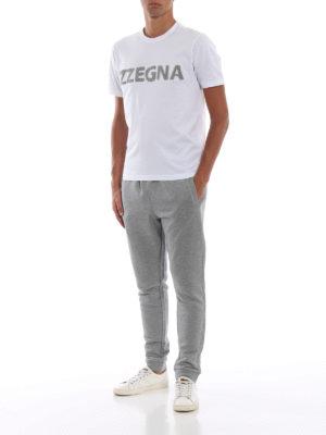 Z ZEGNA: t-shirt online - T-shirt in jersey con logo in spugna