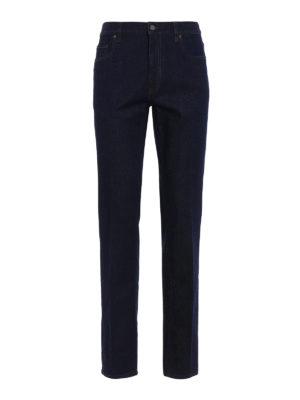 Z Zegna: straight leg jeans - Logo embroidery denim slim jeans