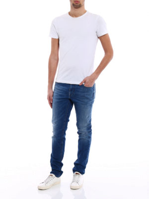 Z Zegna: straight leg jeans online - Faded denim classic jeans