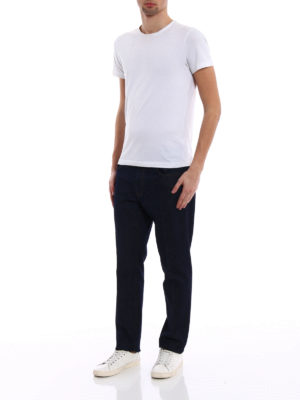 Z Zegna: straight leg jeans online - Logo embroidery denim slim jeans
