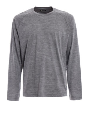 Z Zegna: t-shirts - Grey wool jersey long sleeved Tee