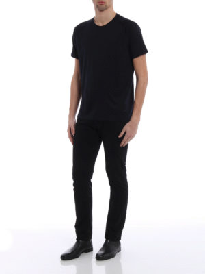 Z Zegna: t-shirts online - Dark blue wool jersey T-shirt