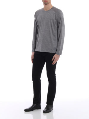 Z Zegna: t-shirts online - Grey wool jersey long sleeved Tee