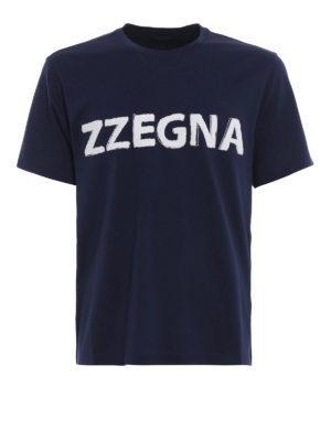 Z ZEGNA: t-shirt - T-shirt in cotone con logo in spugna