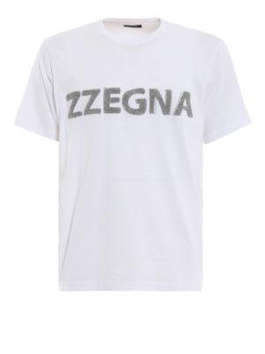 Z ZEGNA: t-shirt - T-shirt in jersey con logo in spugna