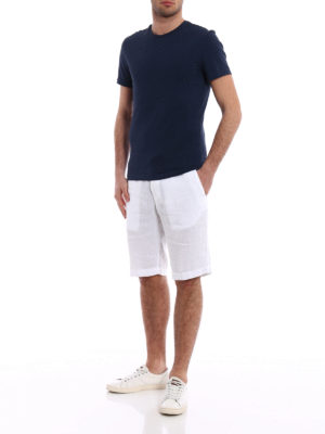 Z Zegna: Trousers Shorts online - Regular fit white linen shorts