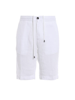 Z Zegna: Trousers Shorts - Regular fit white linen shorts