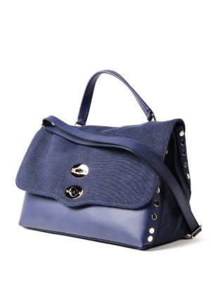 Zanellato: bowling bags online - Denim Canvas Postina medium bag