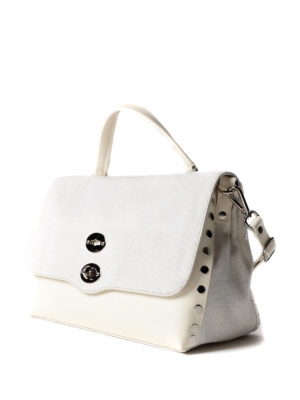Zanellato: bowling bags online - White Canvas Postina medium bag