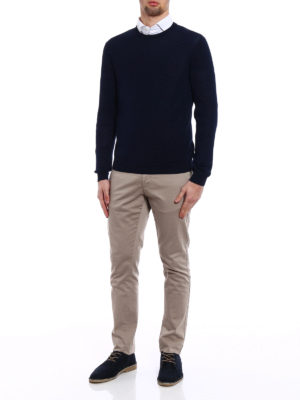 Zanone: crew necks online - Light cotton dark blue sweater