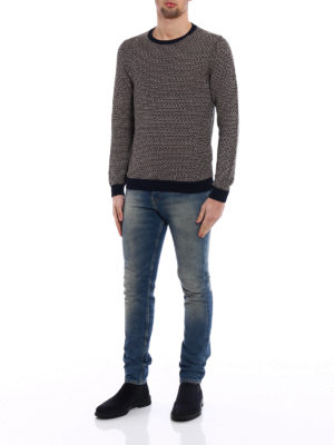 Zanone: crew necks online - Two-tone blue linen cotton sweater