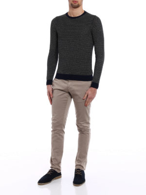 Zanone: crew necks online - Two-tone linen cotton sweater