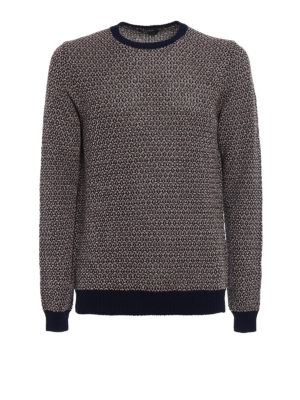 Zanone: crew necks - Two-tone blue linen cotton sweater