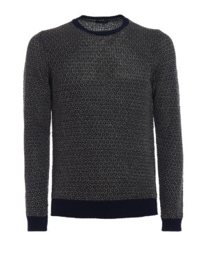 Zanone: crew necks - Two-tone linen cotton sweater