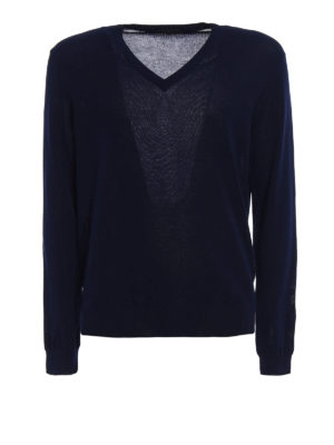 Zanone: v necks - Light cotton navy V-neck sweater