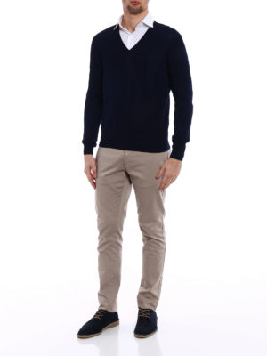 Zanone: v necks online - Light cotton navy V-neck sweater