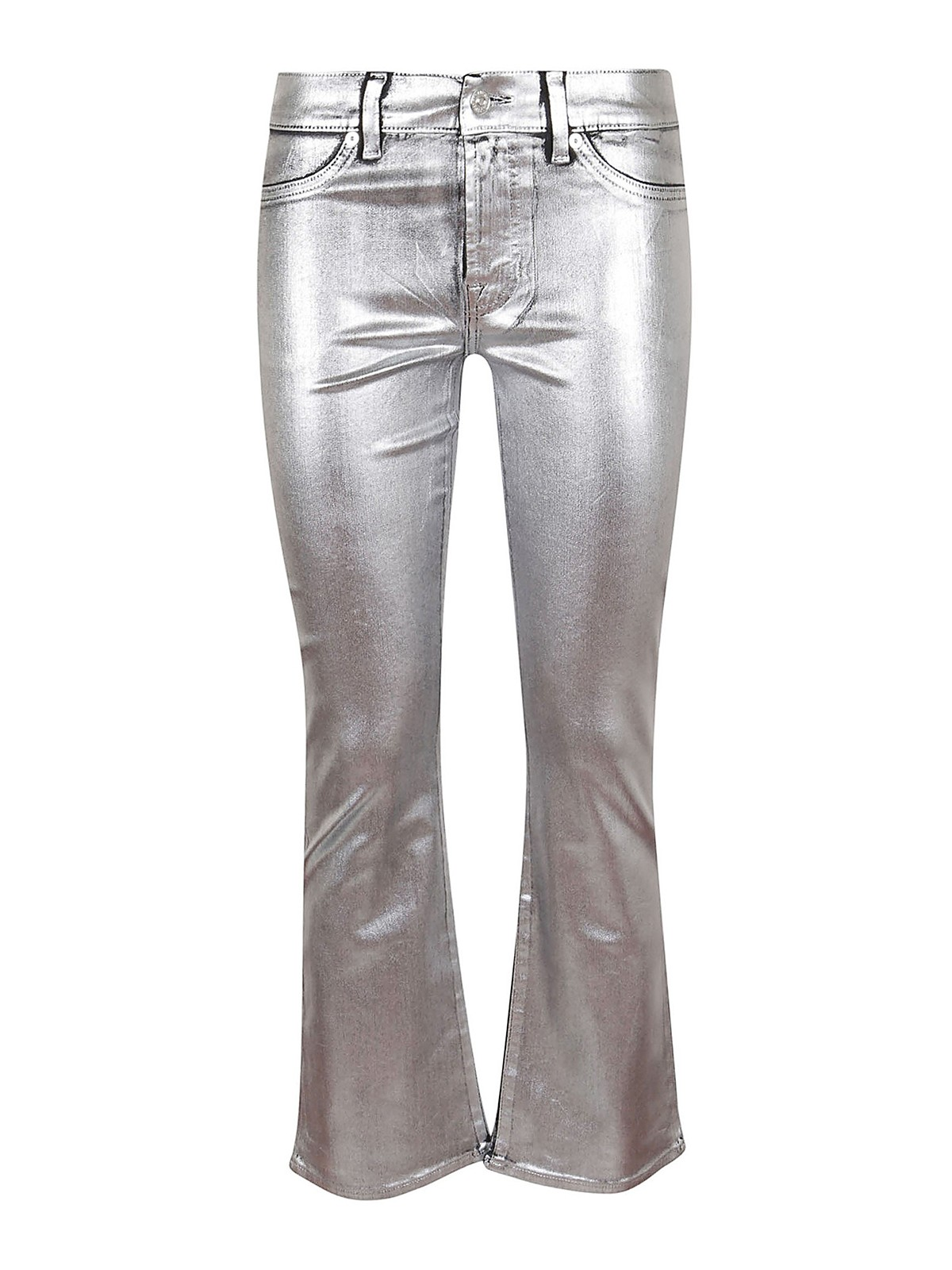 7 For All Mankind COATED SLIM ILLUSION SILVER JEANS