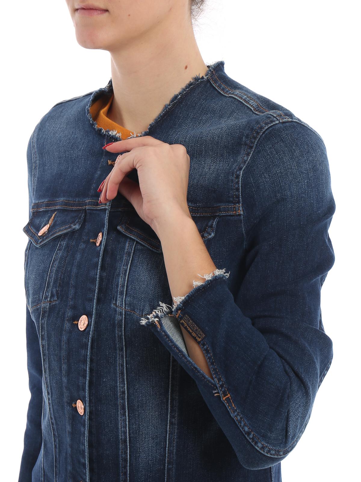 7 For All Mankind Giacca di jeans girocollo a taglio vivo