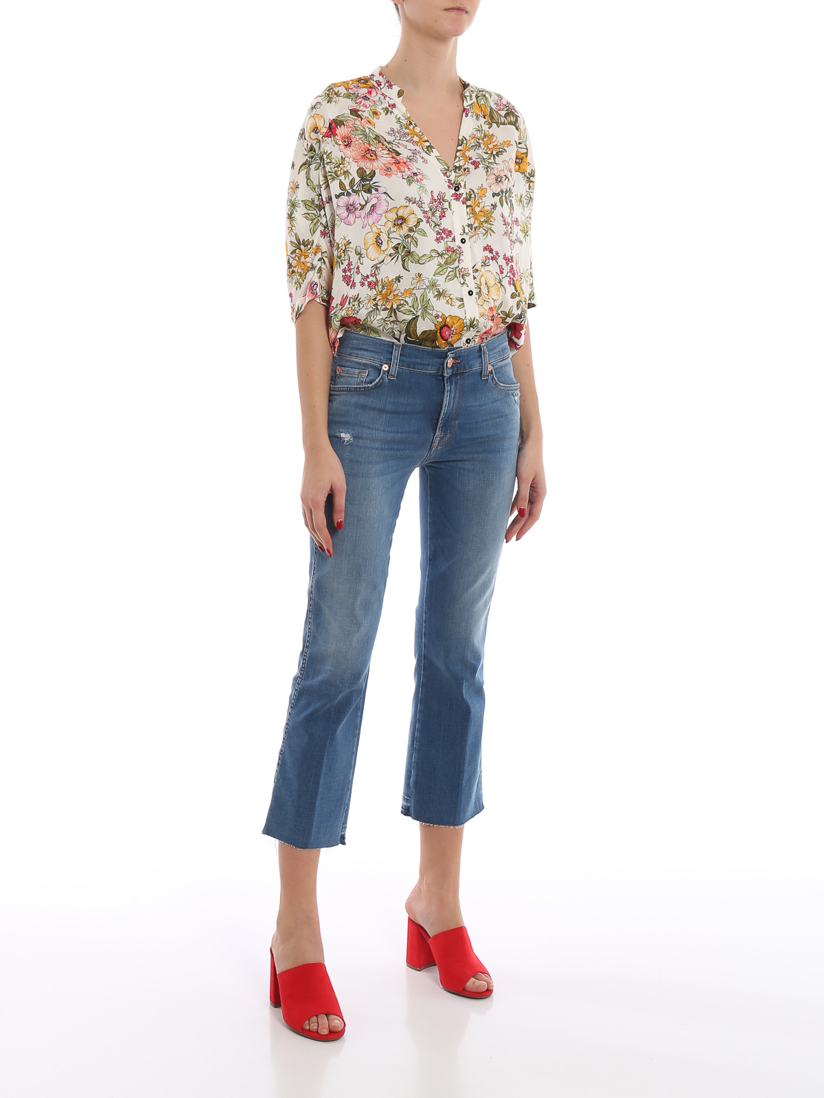 7 For All Mankind Jeans Cropped Boot a taglio vivo denim