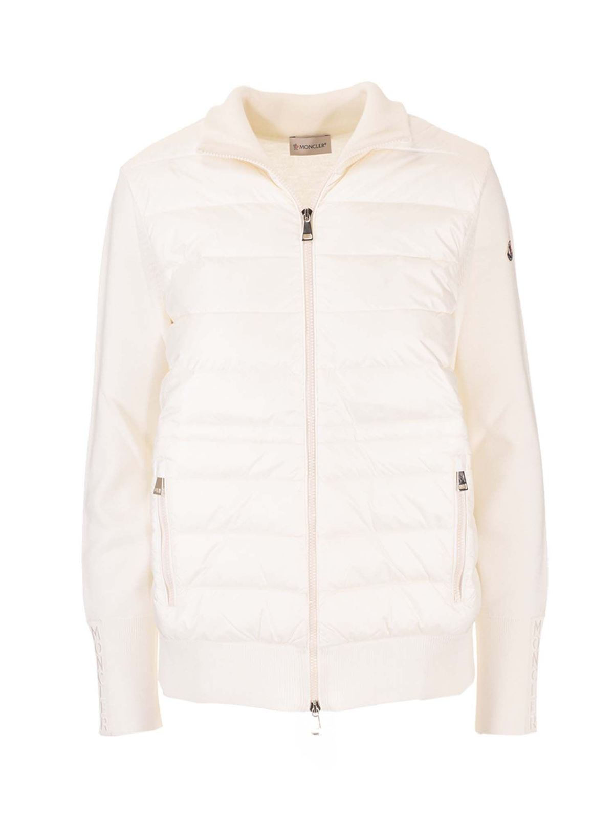 Moncler QUILTED FRONT CARDIGAN IN WHITE