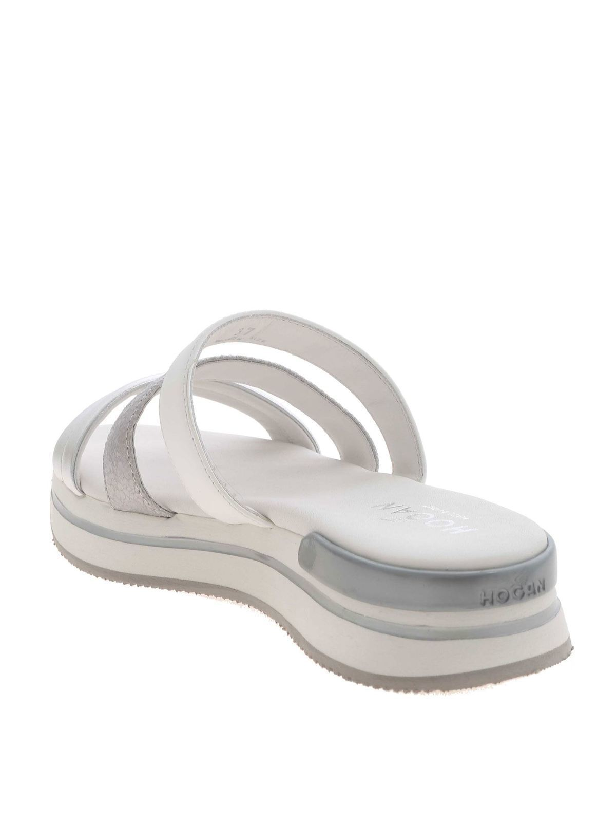 Flip flops Hogan - H257 slippers in white and silver ...