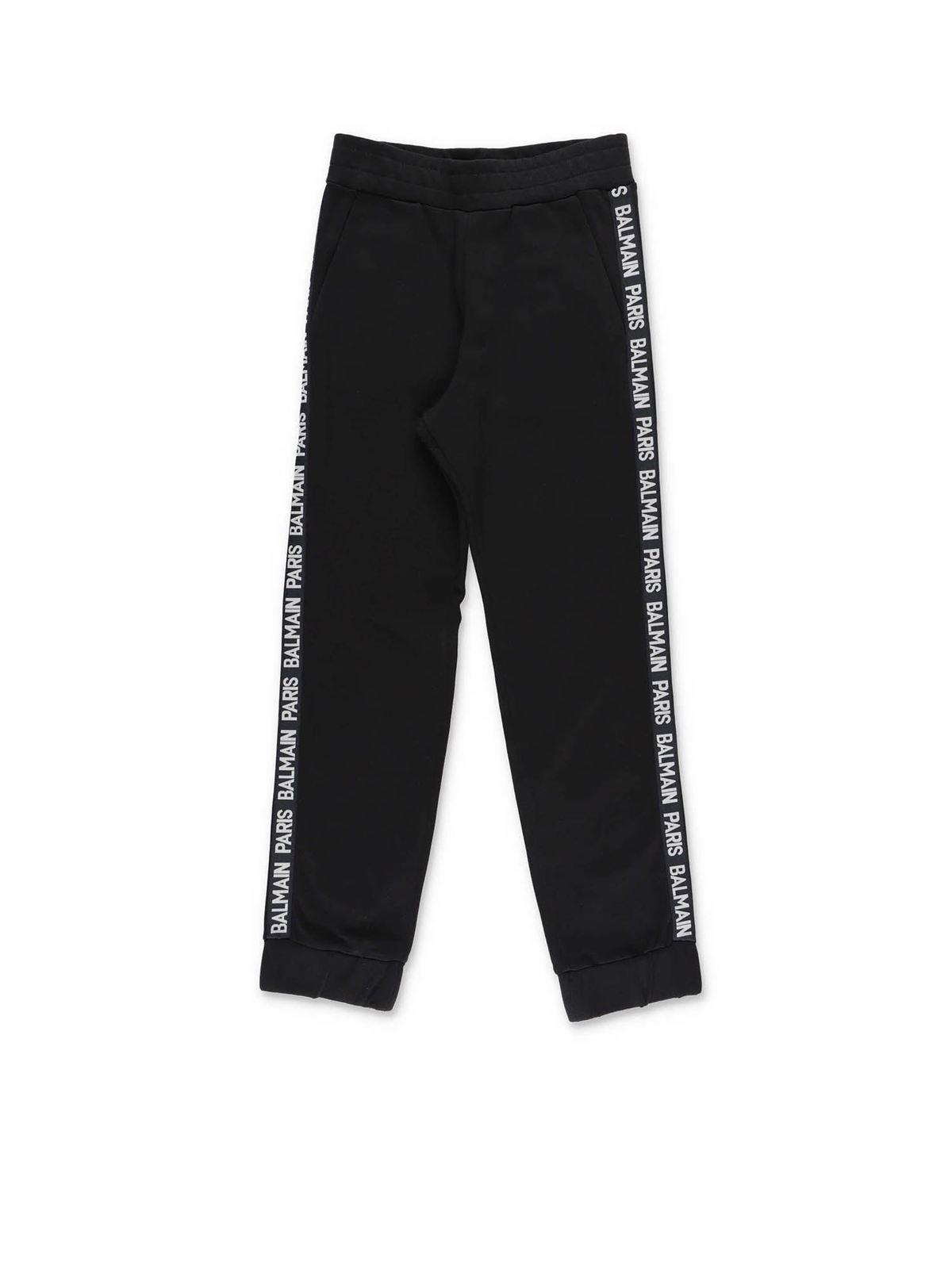 Balmain Cottons LOGO PANTS IN BLACK