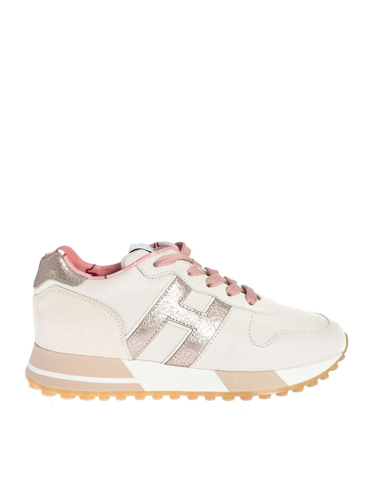 Hogan H383 SNEAKERS IN CREAM AND PINK
