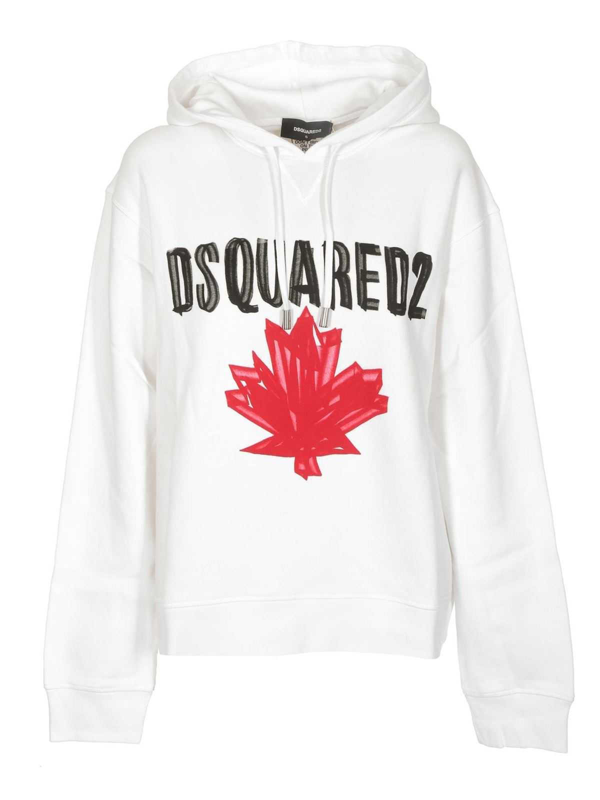 Dsquared2 Cottons MAPLE LEAF HOODIE IN WHITE