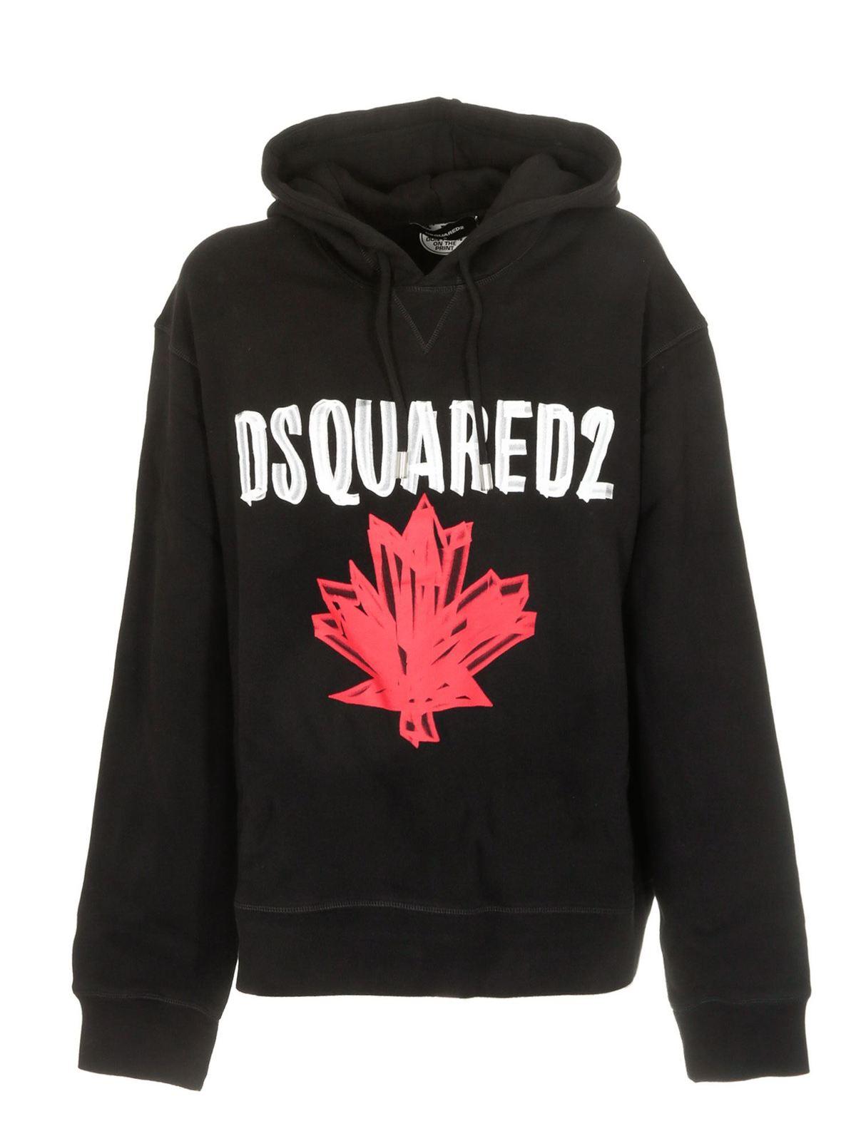 Dsquared2 Hoodies MAPLE LEAF HOODIE IN BLACK
