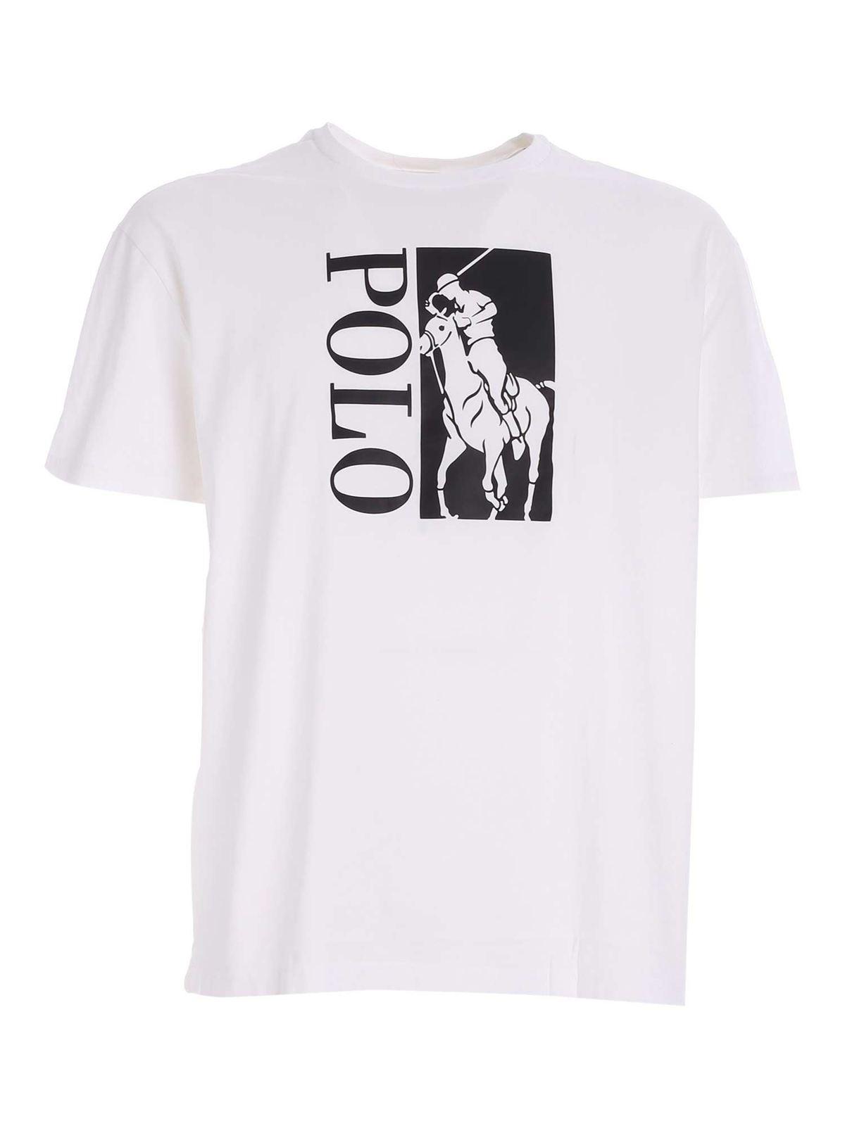 Polo Ralph Lauren BLACK LOGO PRINT T-SHIRT IN WHITE