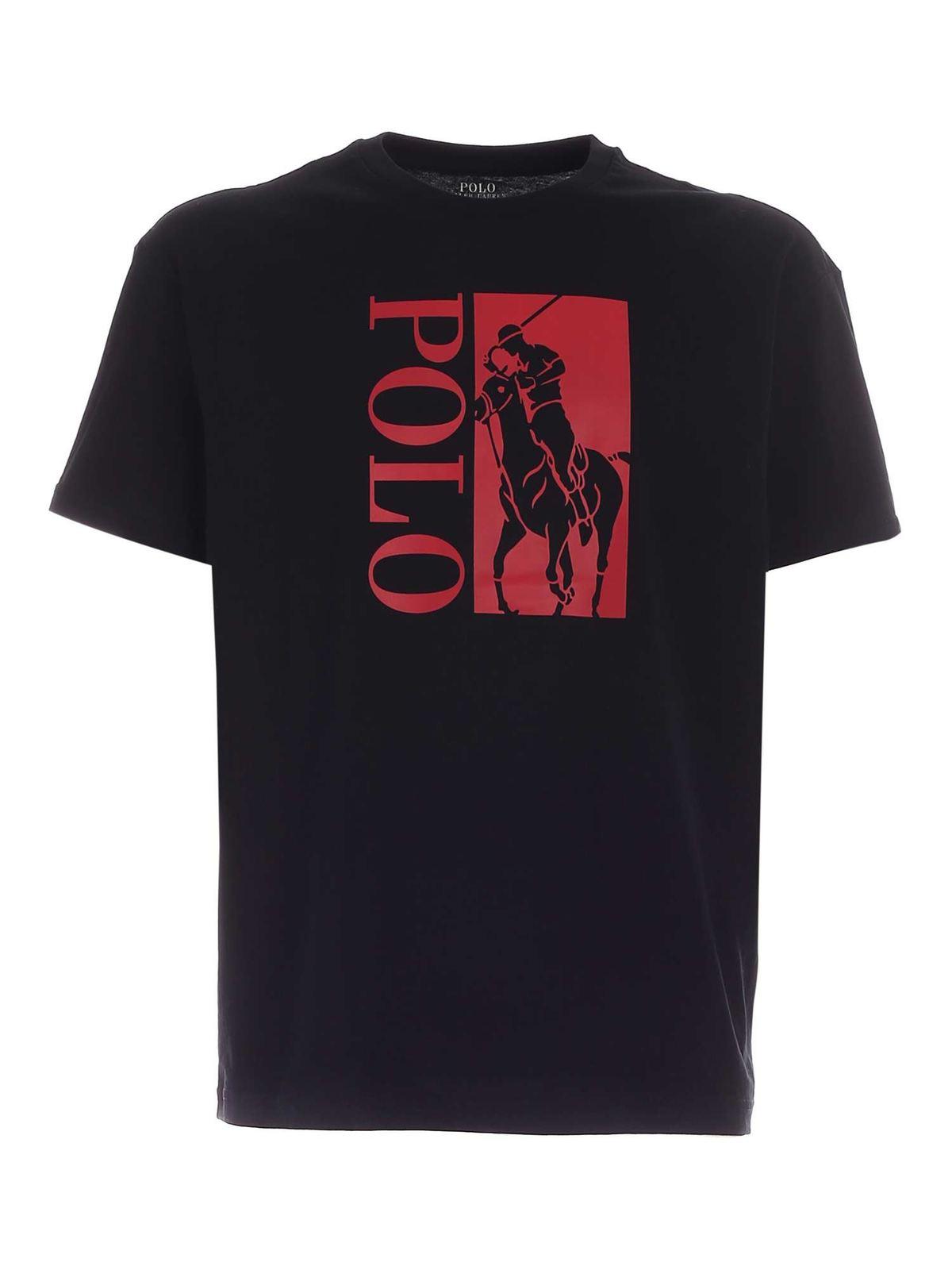 Polo Ralph Lauren RED LOGO PRINT T-SHIRT IN BLACK