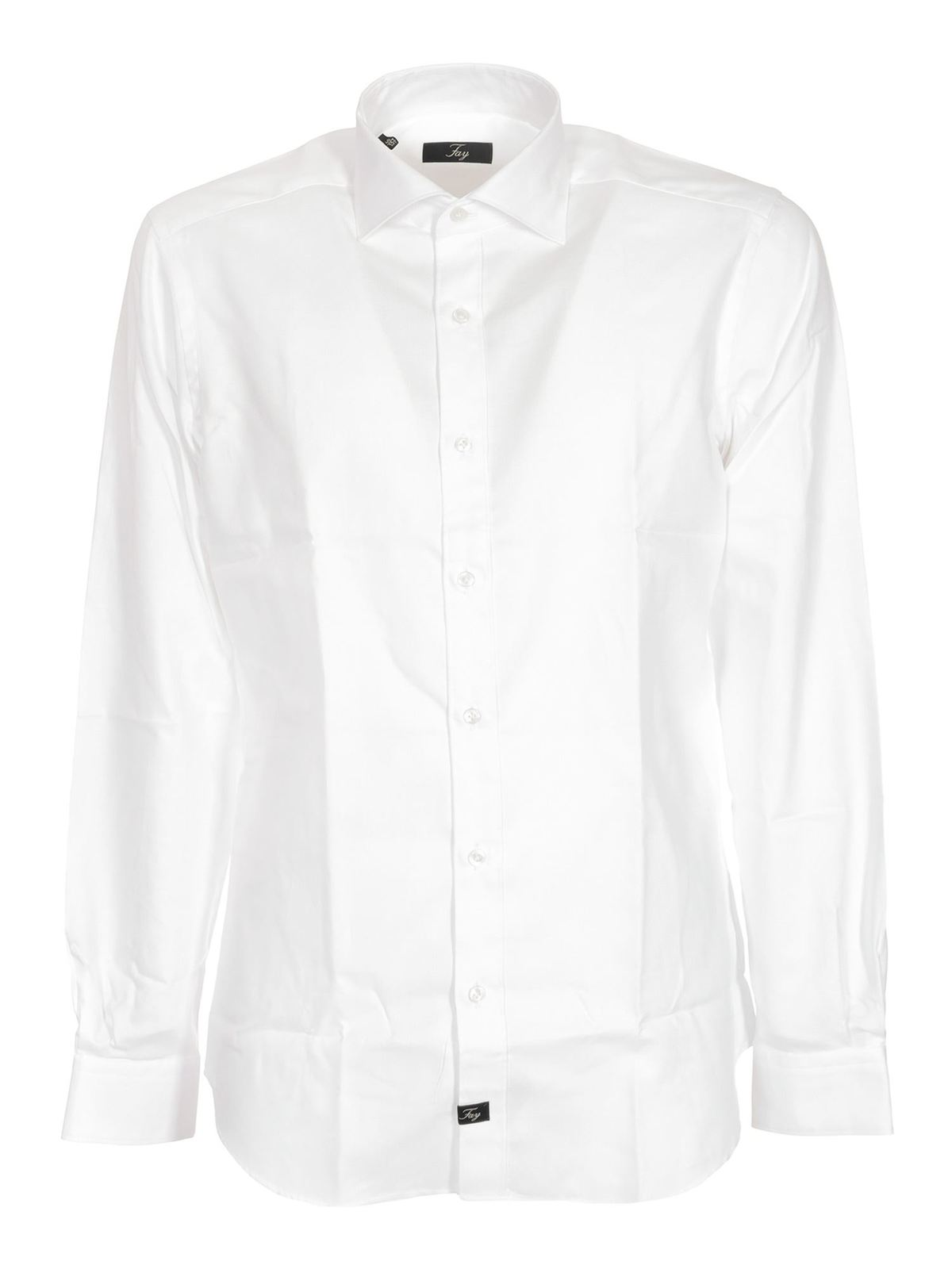 Fay Cottons FRENCH COLLAR SHIRT IN WHITE