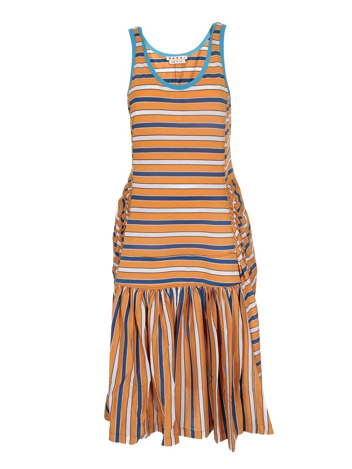 Marni FLOUNCED DRESS IN ORANGE