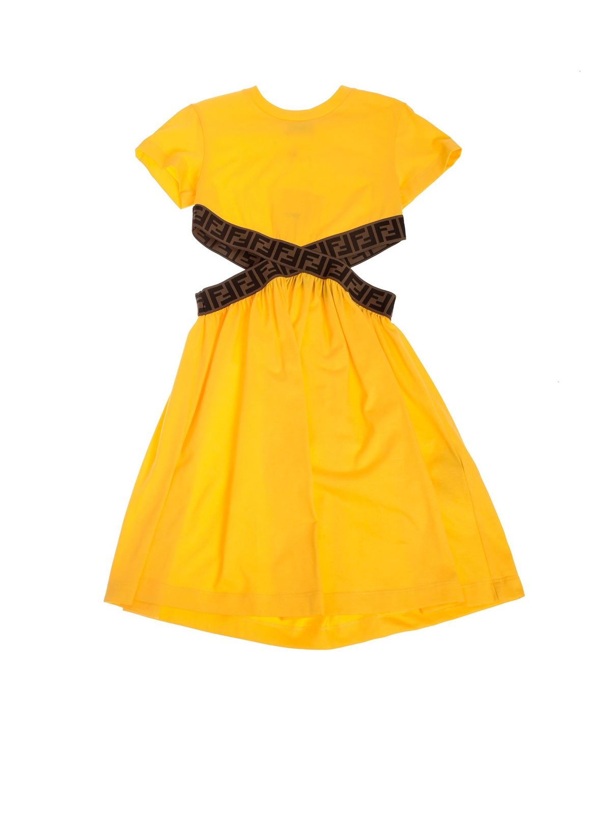 Fendi Jr Dresses ZUCCA PRINT DETAILED DRESS IN YELLOW