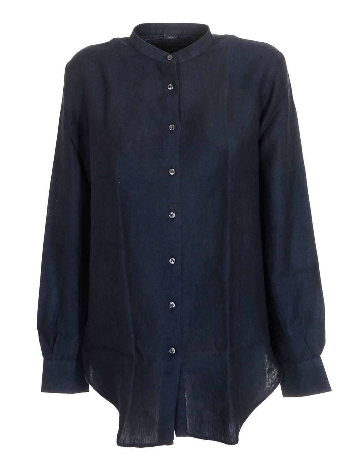 Fay Linens MANDARIN COLLAR SHIRT IN BLUE