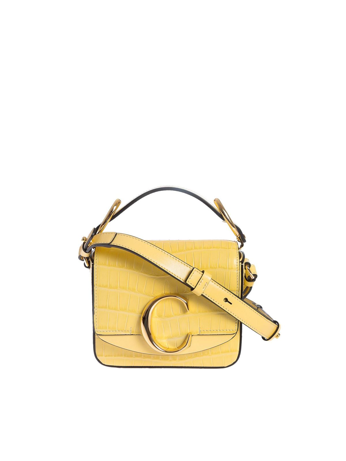 Chloé Leathers MINI SQUARE BAG IN SOFTY YELLOW